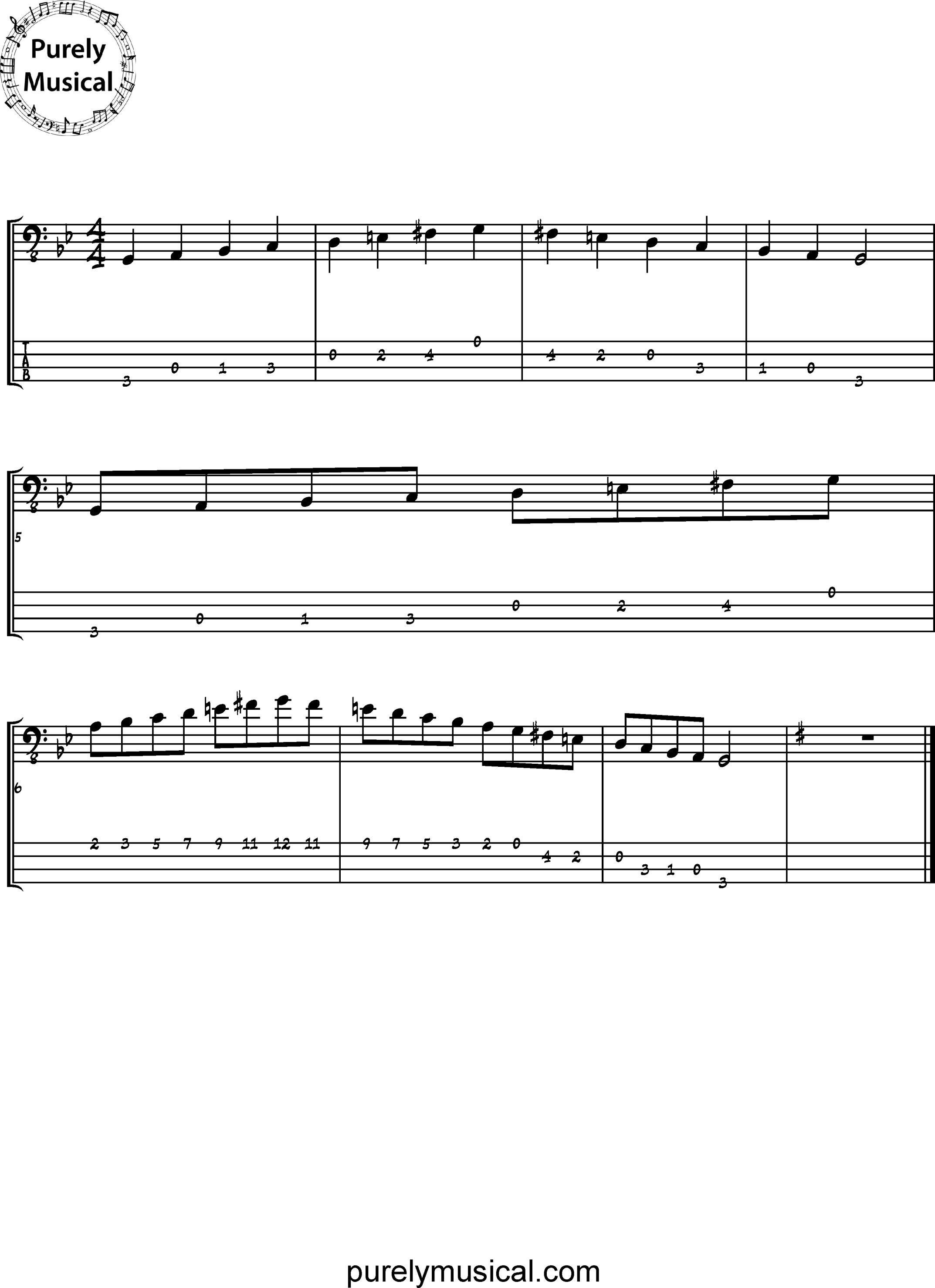 Beginner  Scale G Melodic Minor