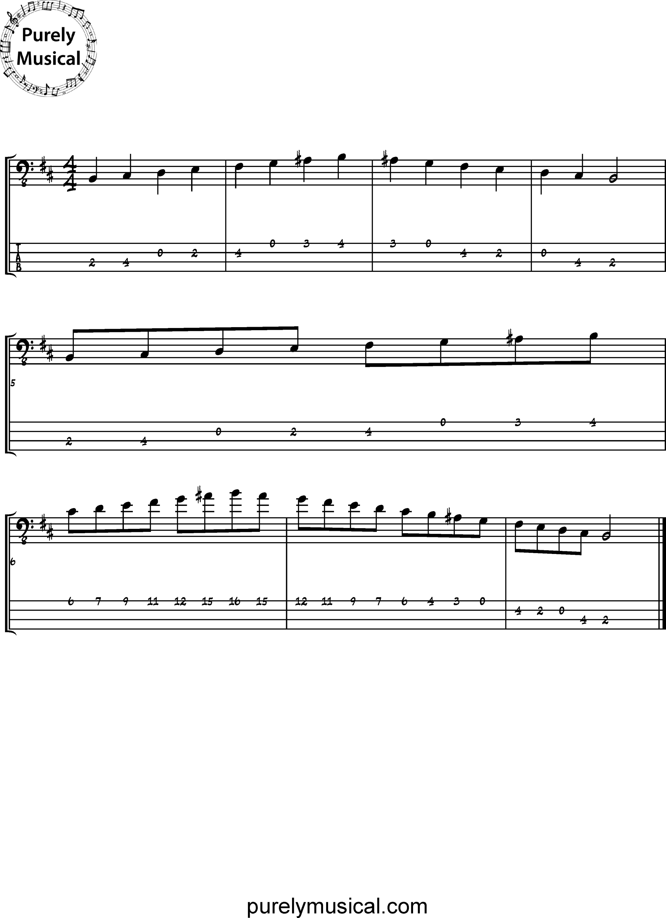 Beginner  Scale B Harmonic Minor