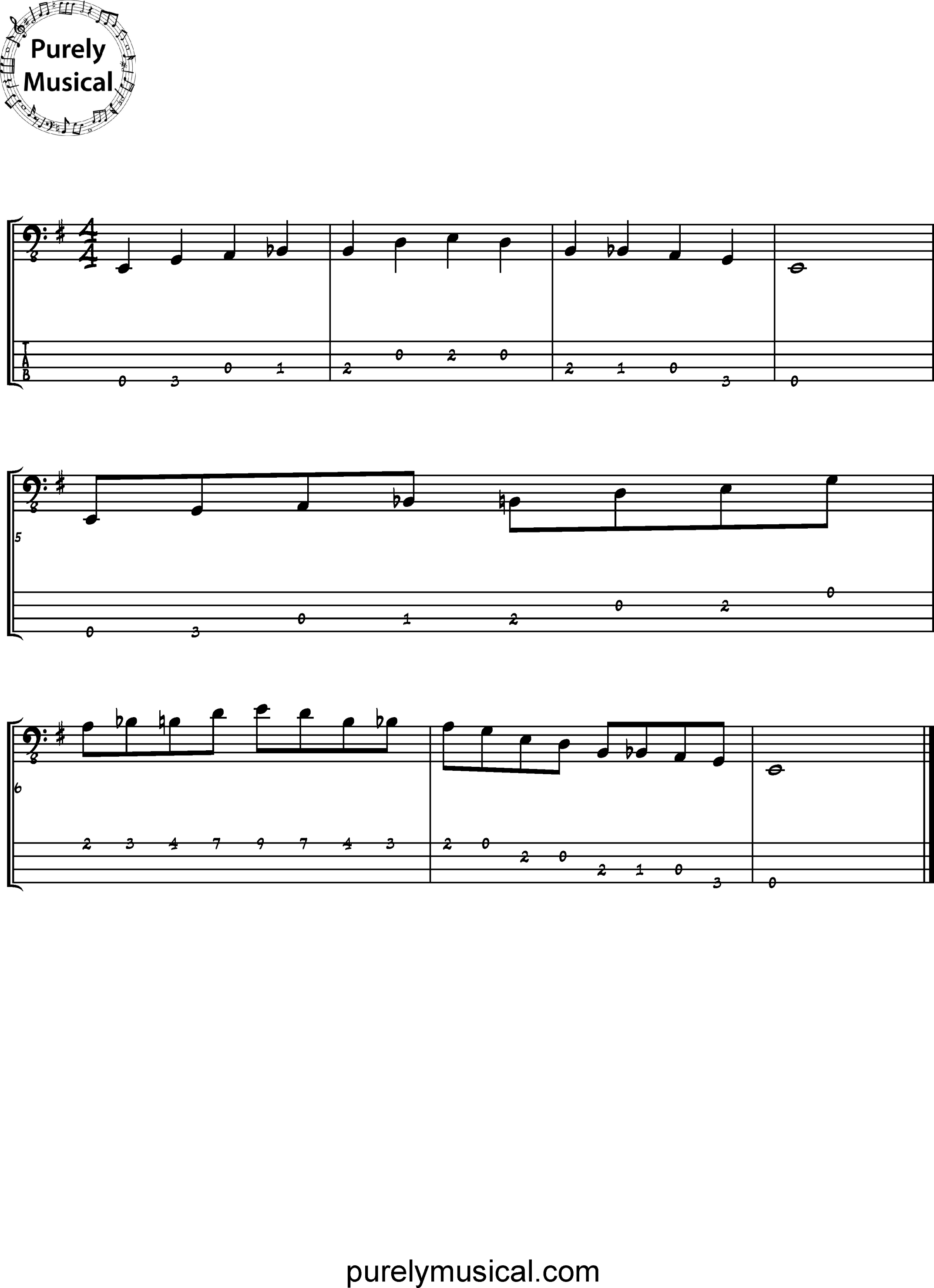 Beginner  Scale E Blues