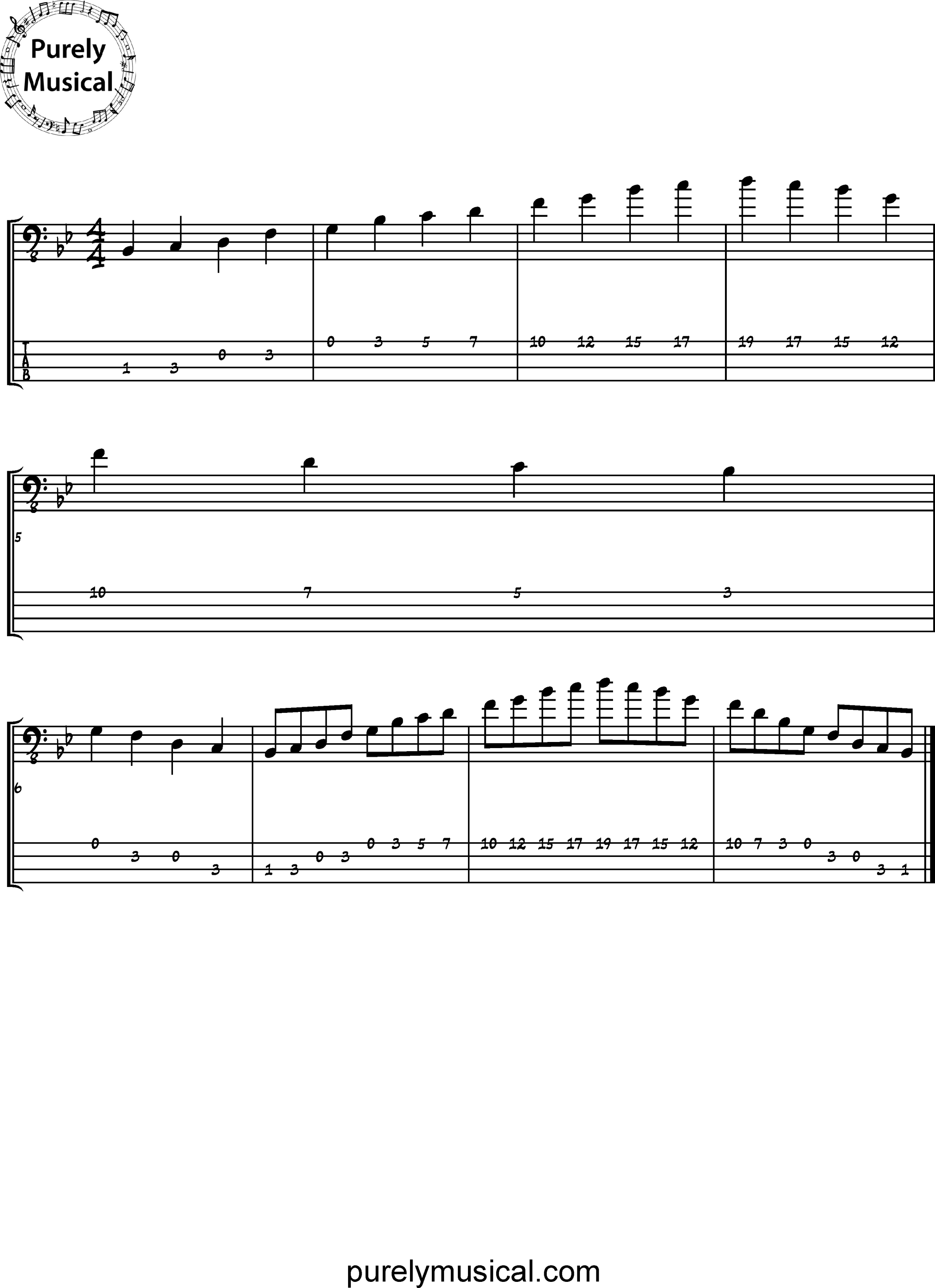 Beginner  Scale Bb Major Pentatonic