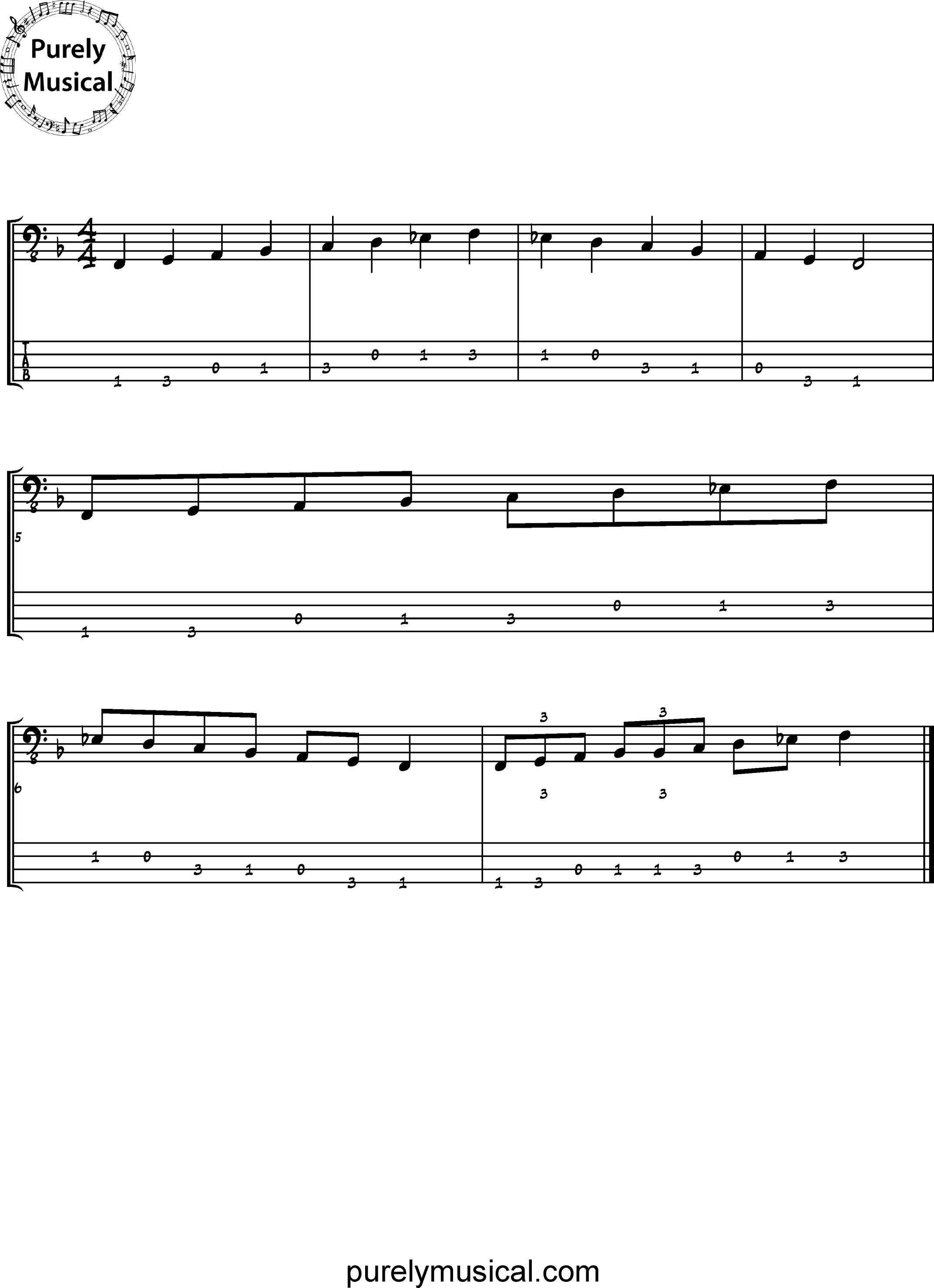Beginner  Scale F Dominant 7Th