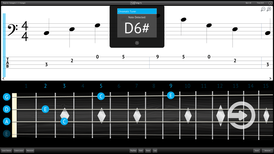 Purely Bass Guitar Screenshot Chromatic Tuner