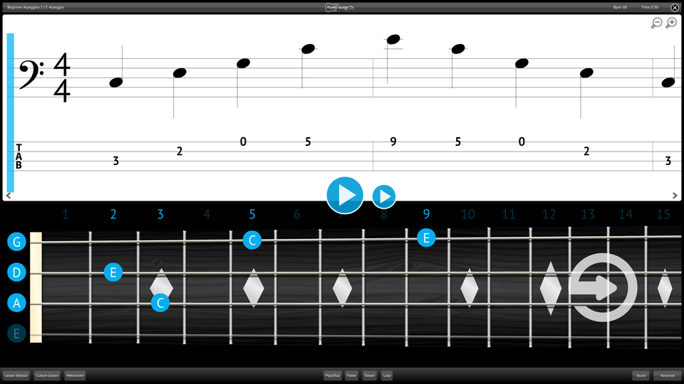 Purely Bass Guitar Screenshot Lesson Selector