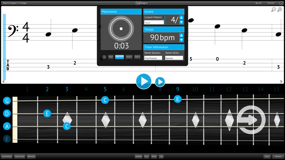 Purely Bass Guitar Screenshot Custom Metronome