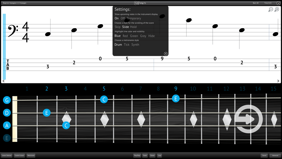 Purely Bass Guitar Screenshot Settings