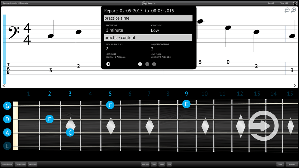 Purely Bass Guitar Screenshot Reporting Measuring Progress