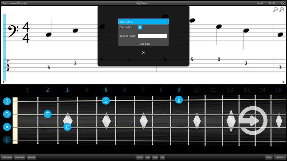 Purely Bass Guitar Screenshot Add Import Content